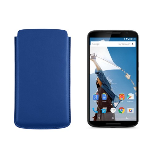 Sleeve for Motorola Nexus 6 - Royal Blue - Smooth Leather