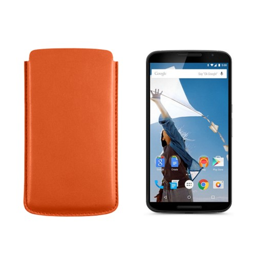 Sleeve for Motorola Nexus 6 - Orange - Smooth Leather