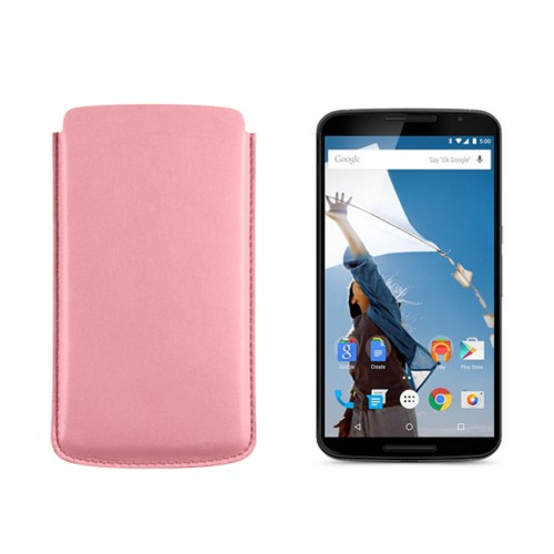 Sleeve for Motorola Nexus 6 - Pink - Smooth Leather