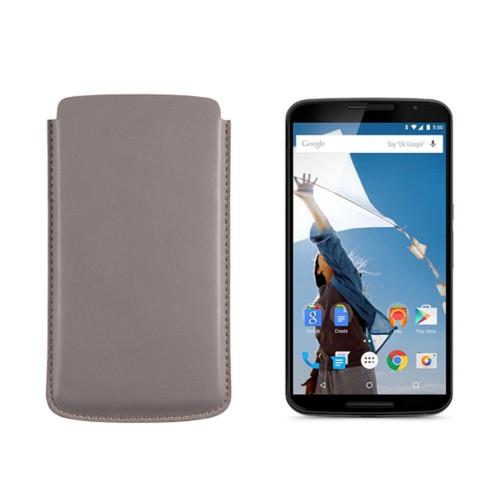 Etui Google Nexus 6 Motorola - Light Taupe - Smooth Leather