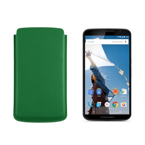 Sleeve for Motorola Nexus 6 - Light Green - Smooth Leather