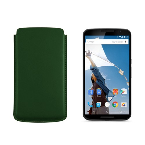 Sleeve for Motorola Nexus 6 - Dark Green - Smooth Leather