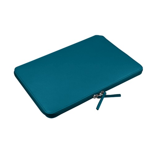 Zipped pouch for MacBook - Turquoise - Smooth Leather