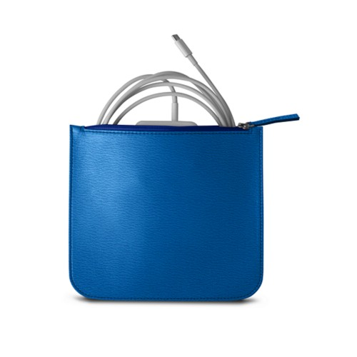 Pouch for Apple charger - Royal Blue - Goat Leather
