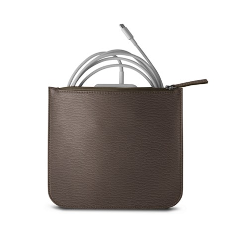 Pouch for Apple charger - Dark Taupe - Goat Leather