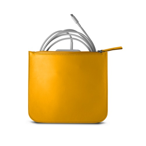Pouch for Apple charger - Sun Yellow - Smooth Leather
