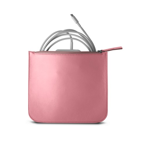 Pouch for Apple charger - Pink - Smooth Leather