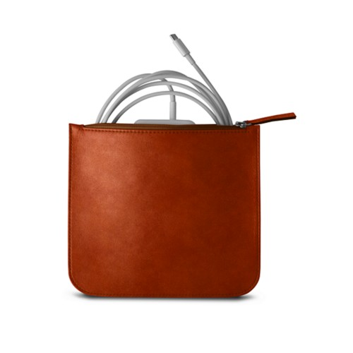 Pouch for Apple charger - Tan - Vegetable Tanned Leather