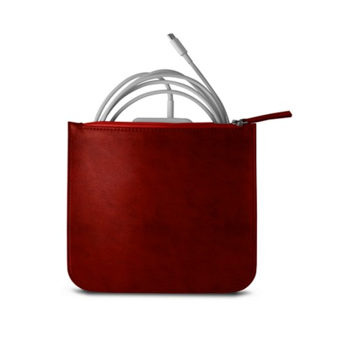 Pouch for Apple charger - Red - Vegetable Tanned Leather