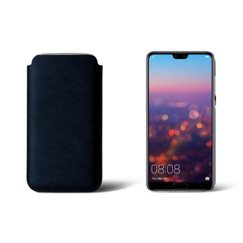 Huawei P20 Pro Sleeve - Navy Blue - Vegetable Tanned Leather