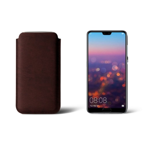 Huawei P20 Pro Sleeve - Dark Brown - Vegetable Tanned Leather