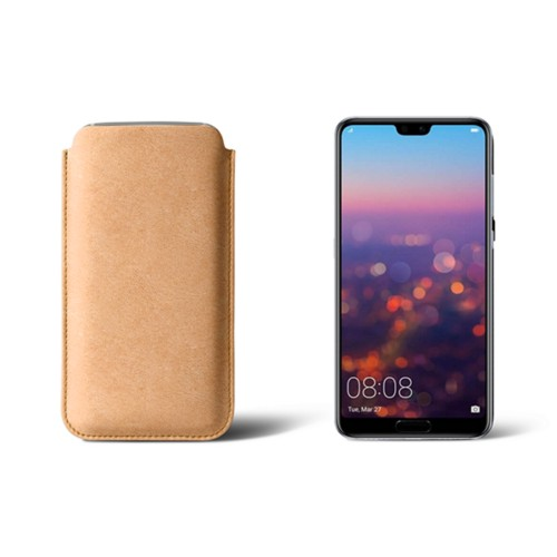 Huawei P20 Pro Sleeve - Natural - Vegetable Tanned Leather