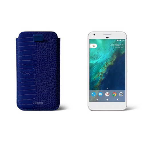 Google Pixel XL pouch with pull-up strap - Royal Blue - Crocodile style calfskin