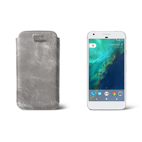 Google Pixel XL pouch with pull-up strap - Silver - Metallic Leather