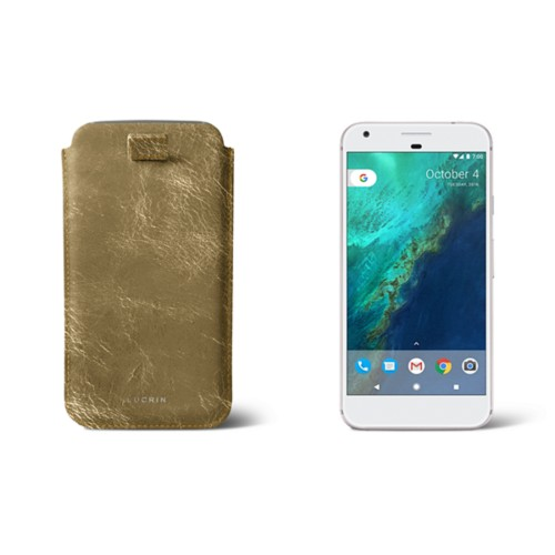 Google Pixel XL pouch with pull-up strap - Golden - Metallic Leather