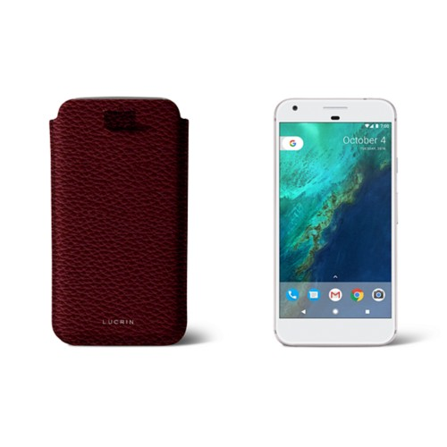 Google Pixel XL pouch with pull-up strap - Burgundy - Granulated Leather