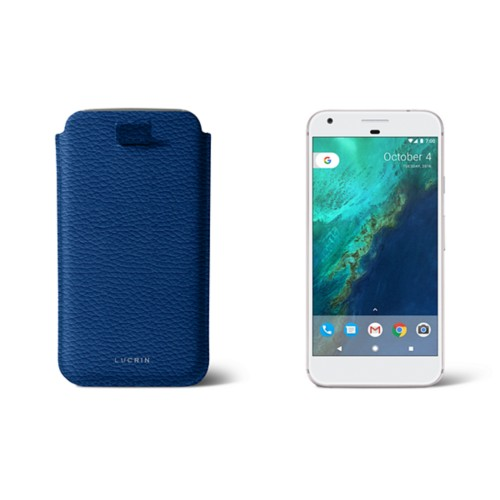 Google Pixel XL pouch with pull-up strap - Royal Blue - Granulated Leather
