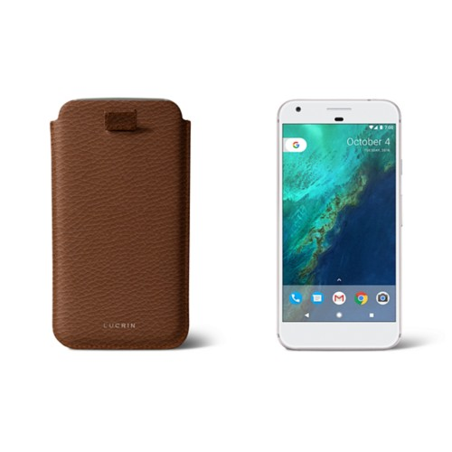 Google Pixel XL pouch with pull-up strap - Tan - Granulated Leather