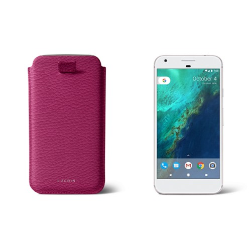 Google Pixel XL pouch with pull-up strap - Fuchsia  - Granulated Leather