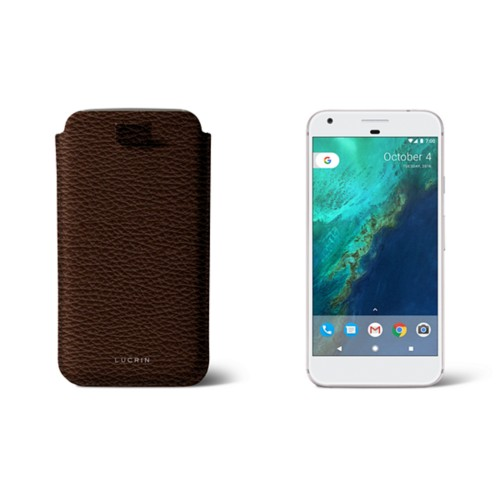 Google Pixel XL pouch with pull-up strap - Dark Brown - Granulated Leather