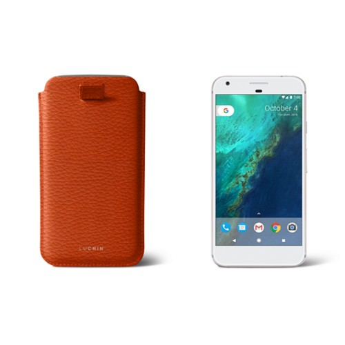 Google Pixel XL pouch with pull-up strap - Orange - Granulated Leather