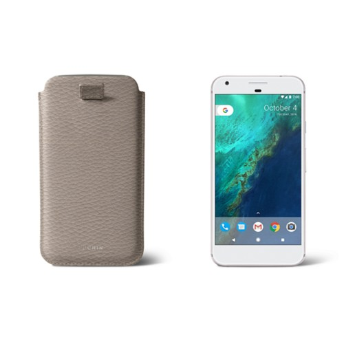 Google Pixel XL pouch with pull-up strap - Light Taupe - Granulated Leather