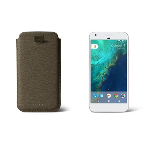 Google Pixel XL pouch with pull-up strap - Dark Taupe - Granulated Leather