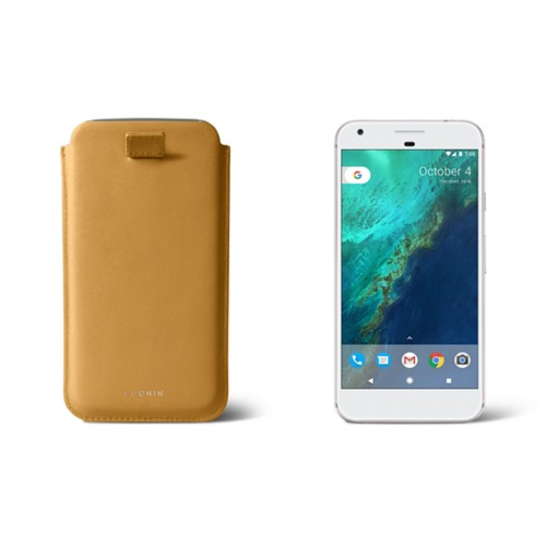 Google Pixel XL pouch with pull-up strap - Mustard Yellow - Smooth Leather