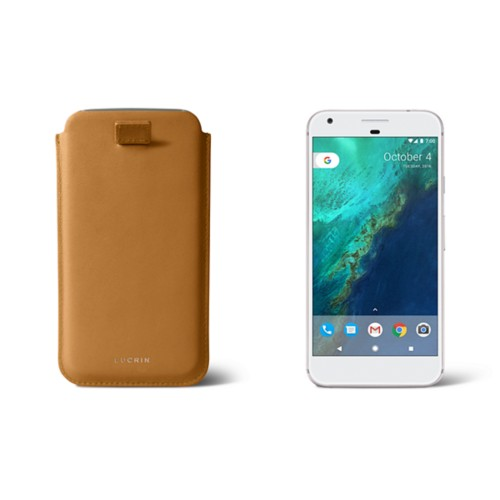 Google Pixel XL pouch with pull-up strap - Natural - Smooth Leather