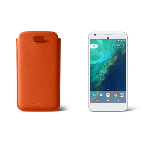 Google Pixel XL pouch with pull-up strap - Orange - Smooth Leather
