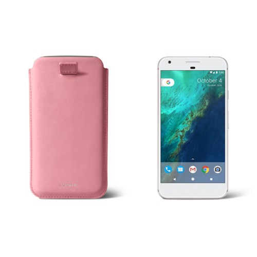 Google Pixel XL pouch with pull-up strap - Pink - Smooth Leather