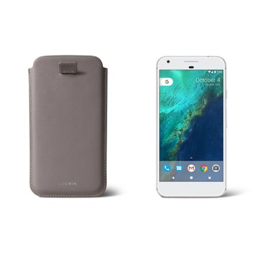 Google Pixel XL pouch with pull-up strap - Light Taupe - Smooth Leather