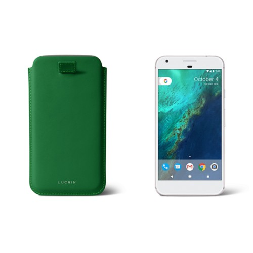 Google Pixel XL pouch with pull-up strap - Light Green - Smooth Leather