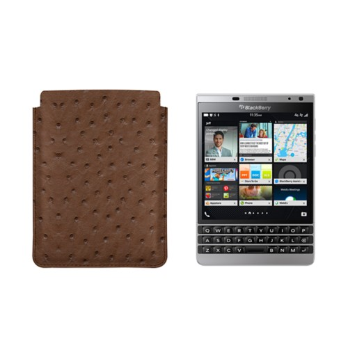 Case for BlackBerry Passport Silver Edition - Tobacco - Real Ostrich Leather