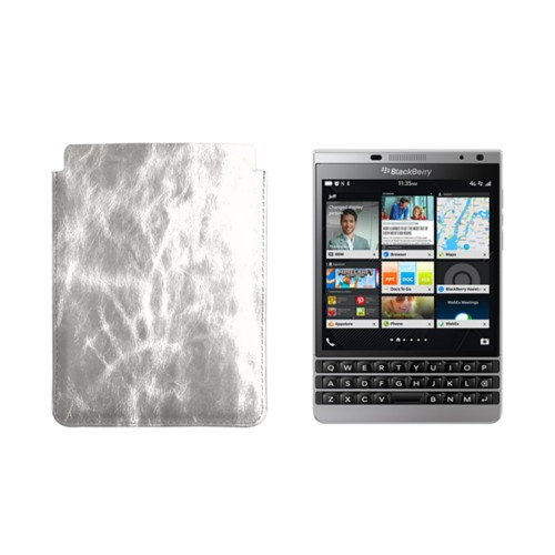 Case for BlackBerry Passport Silver Edition - Silver - Metallic Leather