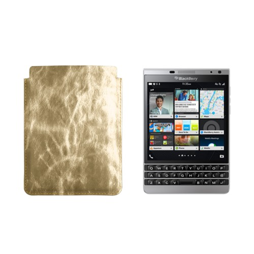 Case for BlackBerry Passport Silver Edition - Golden - Metallic Leather