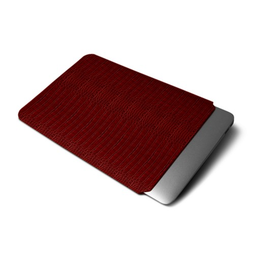 "Macbook pro 13"" Touch Bar pouch - Red - Crocodile style calfskin"