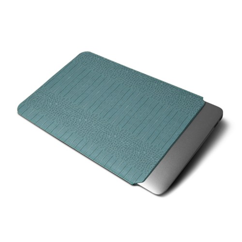 """Macbook pro 13"""" Touch Bar pouch - Turquoise - Crocodile style calfskin"""