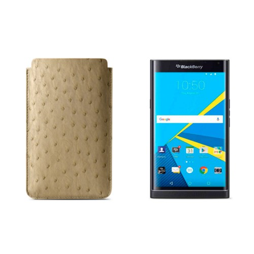 BlackBerry Priv Sleeve - Beige - Real Ostrich Leather