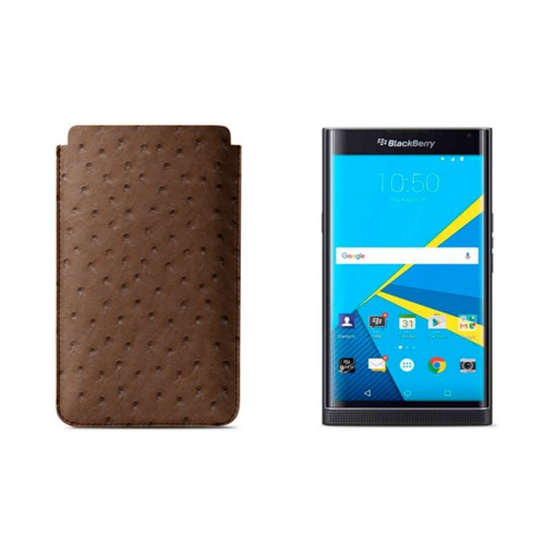 BlackBerry Priv Sleeve - Tobacco - Real Ostrich Leather