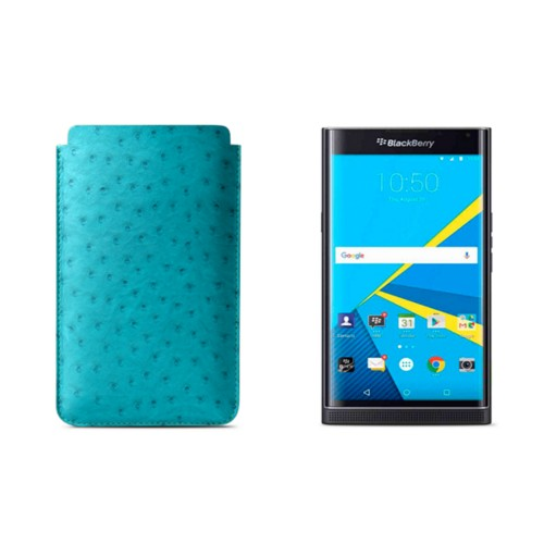 BlackBerry Priv Sleeve - Turquoise - Real Ostrich Leather