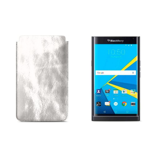 BlackBerry Priv Sleeve - Silver - Metallic Leather