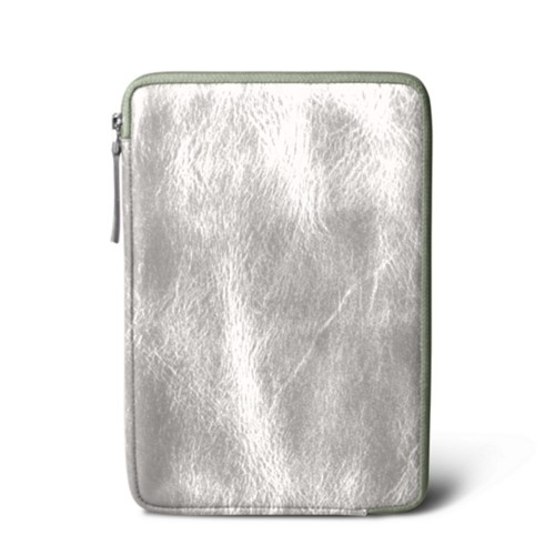 Zipped pouch for iPad Mini 4 - Silver - Metallic Leather