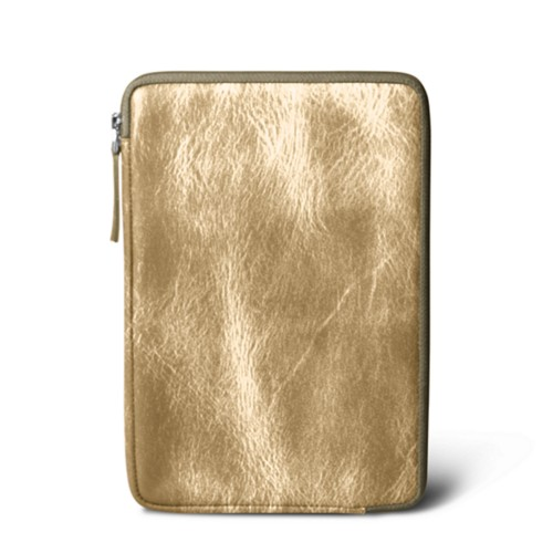 Zipped pouch for iPad Mini 4 - Golden - Metallic Leather