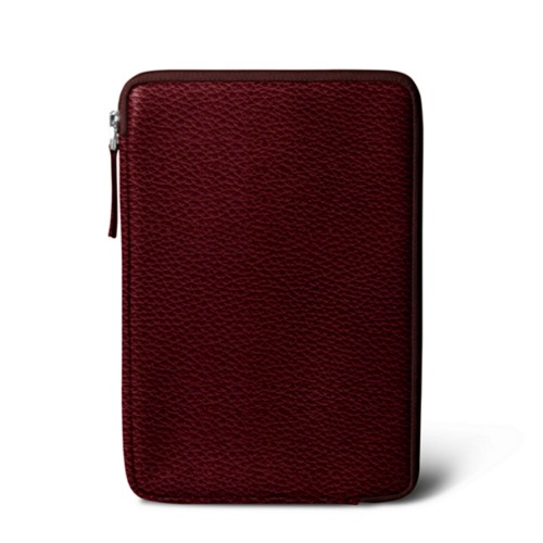 Zipped pouch for iPad Mini 4 - Burgundy - Granulated Leather