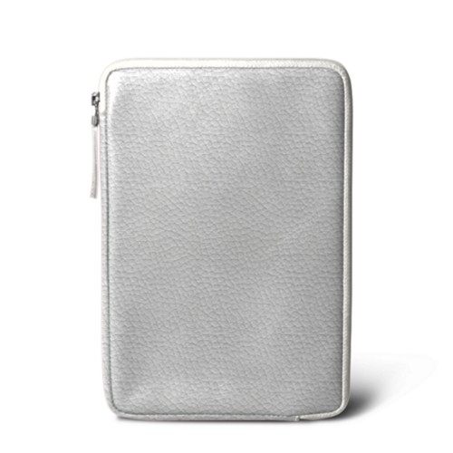 Zipped pouch for iPad Mini 4 - White - Granulated Leather