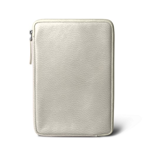 Zipped pouch for iPad Mini 4 - Off-White - Granulated Leather
