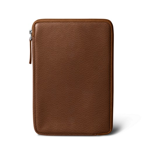 Zipped pouch for iPad Mini 4 - Tan - Granulated Leather