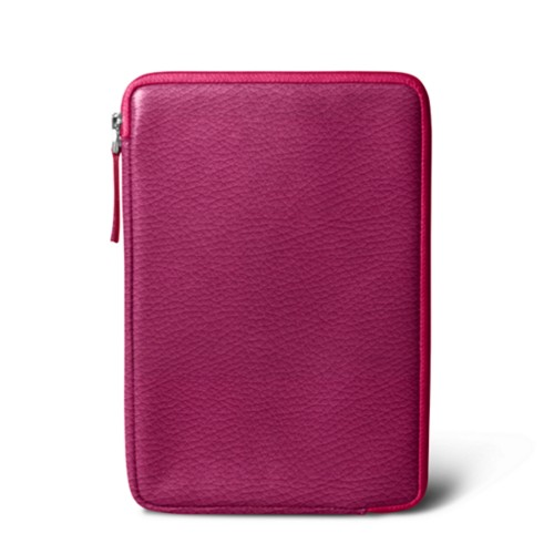 Zipped pouch for iPad Mini 4 - Fuchsia  - Granulated Leather