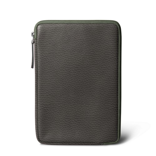 Zipped pouch for iPad Mini 4 - Mouse-Grey - Granulated Leather